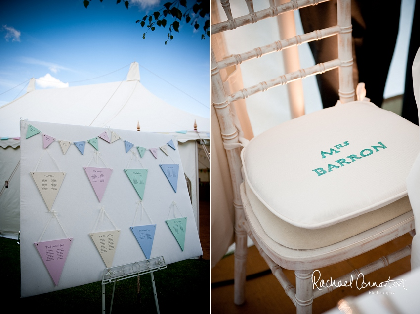 Professional photograph of wedding bunting outside wedding marquee
