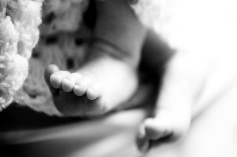Professional photograph of baby feet